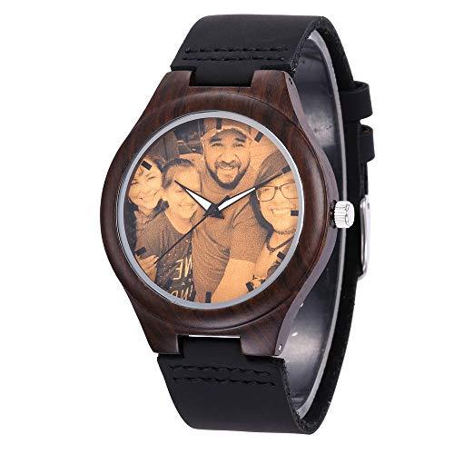 Junmei Reloj de Madera Personalizado con Foto...