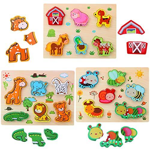 3D Animal Puzzles de Madera para Bebé,Pack...