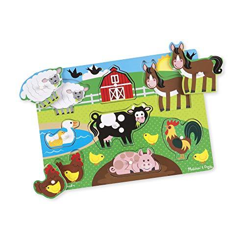 Melissa & Doug- Farm Peg Juego Puzzle,...