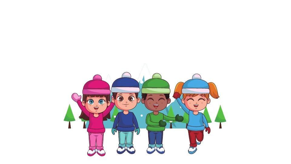 niños en la nieve con ropa de invierno