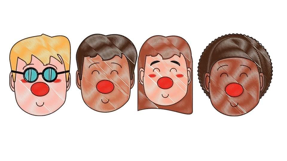caras con la nariz colorada