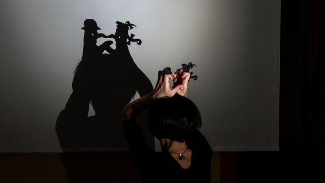 Chica haciendo teatro de sombras con las manos