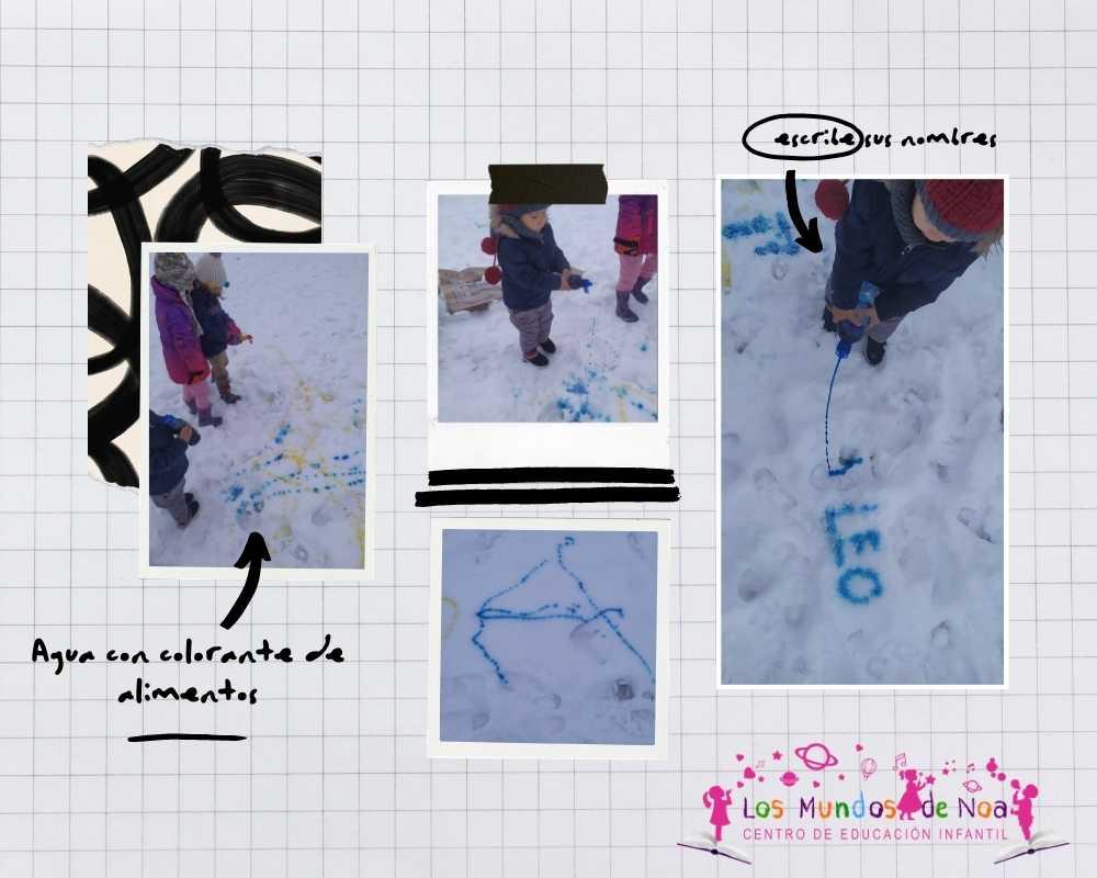 niños pintando en la nieve