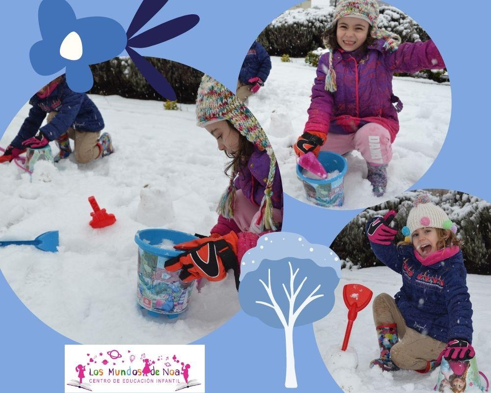 niñas jugando a castillos en la nieve