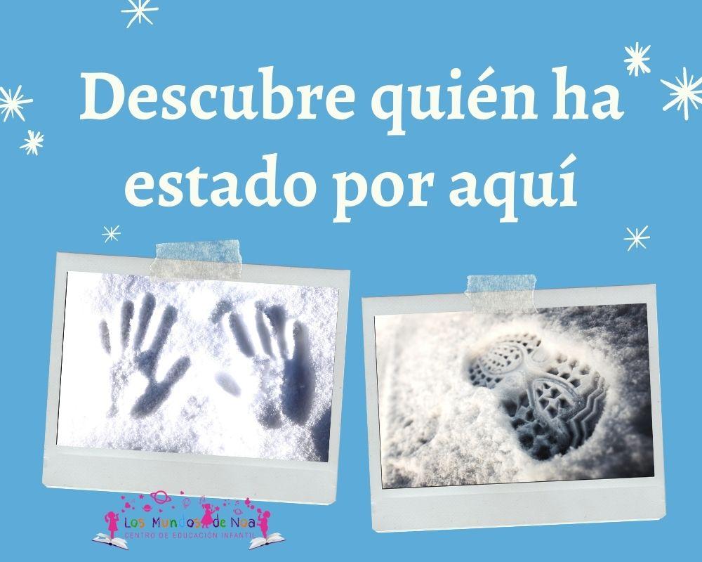huellas de manos y pies en la nieve