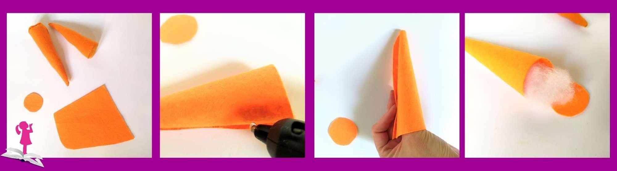 Pasos a seguir para hacer una zanahoria de fieltro para niños
