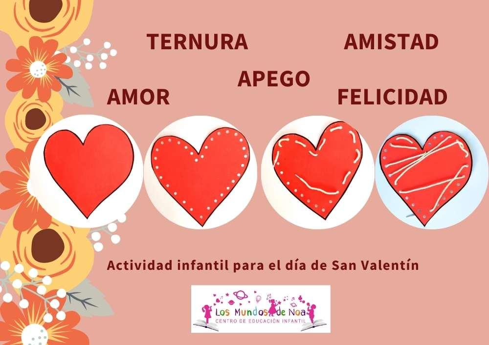 actividad infantil de corazones