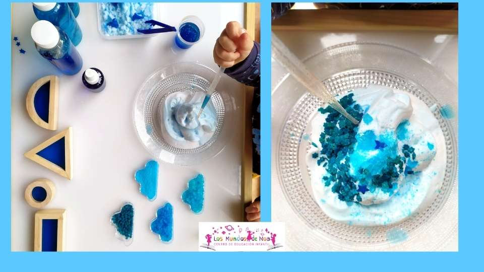 Juego infantil del color azul