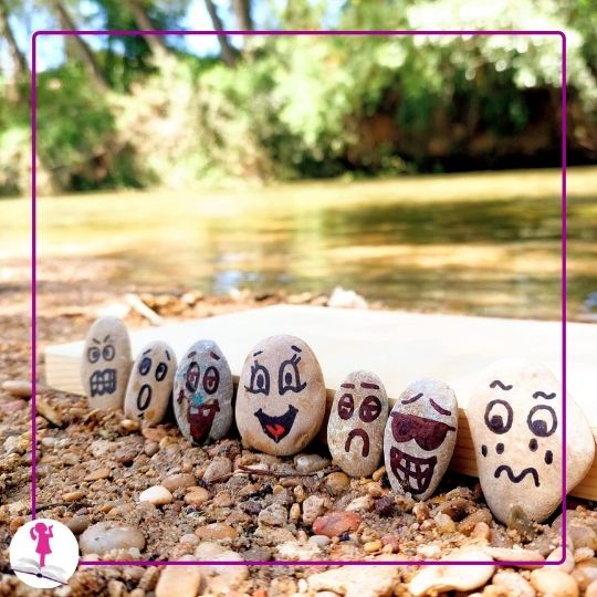 piedras de río pintadas con caras